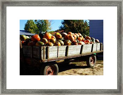 Pumpkin Wagon Framed Print