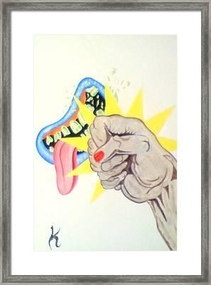 Punch Face Framed Print by Roger Golden