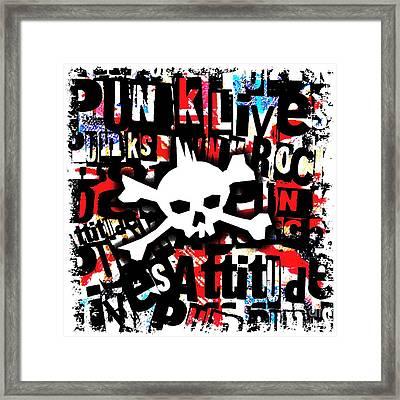 Punk Skull Framed Print by Roseanne Jones