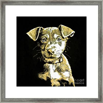 Puppy Dog Graphic Novel Drawing Framed Print by Edward Fielding