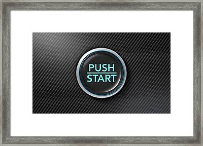 Push To Start Carbon Fibre Button Framed Print