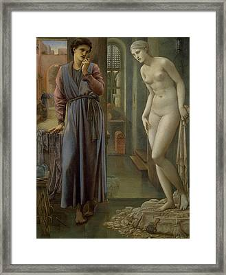 Pygmalion And The Image The Hand Refrains Framed Print by Edward Burne-Jones