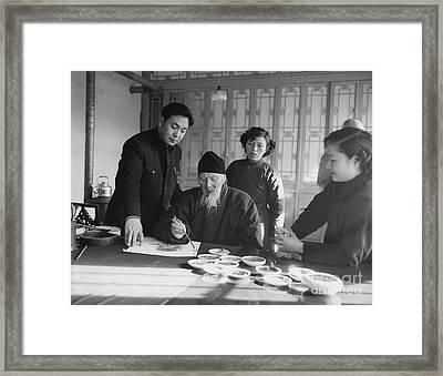 Qi Baishi At Work In His Studio, January 1957. Framed Print