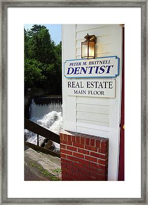 Quechee, Vermont - Falls Storefront 2006 Framed Print by Frank Romeo