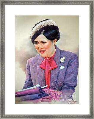 Queen Sirikit Framed Print by Chonkhet Phanwichien