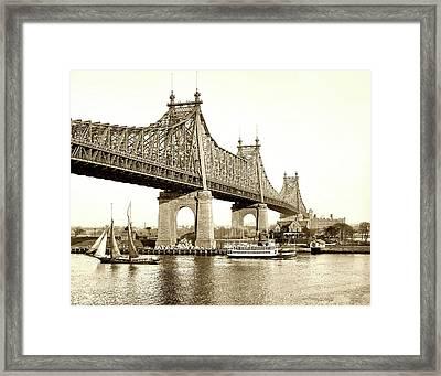 Queensboro Bridge - 1910 Framed Print by L O C