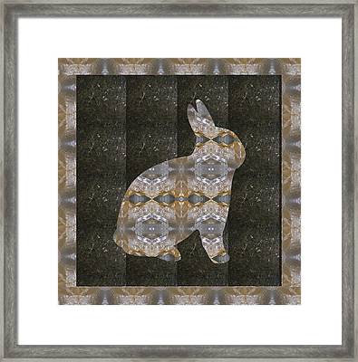 Rabbit Bunny Khargosh Made Of Crystal Stone Leather Green Background Stitched Look Framed Print