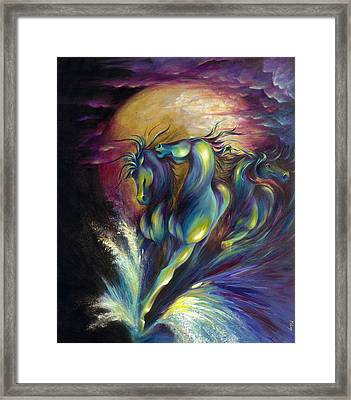 Framed Print featuring the painting Racing The Moon by Dina Dargo