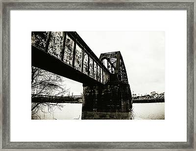 Railroad Over The Red River - Sepia Toned Framed Print