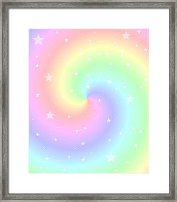 Rainbow Swirl With Stars Framed Print by Marianna Mills