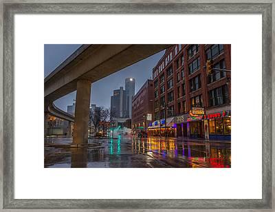 Rainy Night In Detroit  Framed Print
