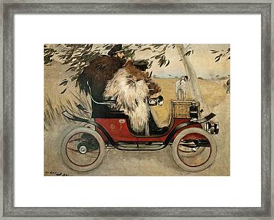 Ramon Casas And Pere Romeu In An Automobile Framed Print