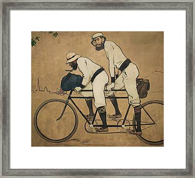 Ramon Casas And Pere Romeu On A Tandem Framed Print by Ramon Casas