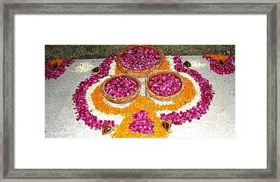 Rangoli- Festive Colours Framed Print by Sunaina Serna Ahluwalia