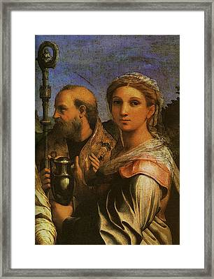Raphael St Cecilia With Sts Paul John Evangelists Augustine And Mary Magdalene  Framed Print by Raphael