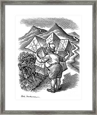 Reading A Map, Artwork Framed Print