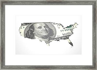 Recessed Country Notes Usa Framed Print by Allan Swart