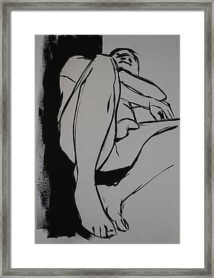 Reclining Male Framed Print by Joanne Claxton