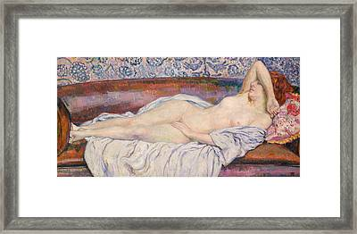 Reclining Nude Framed Print by Theo van Rysselberghe