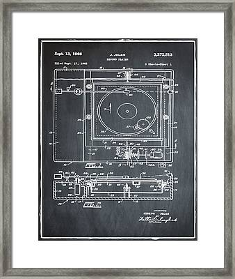 Record Player Patent 1966 Chalk Framed Print by Bill Cannon
