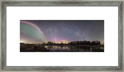 Red And Green Auroras Framed Print