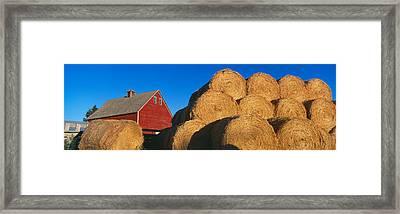 Red Barn And Haystacks, Idaho Falls Framed Print by Panoramic Images