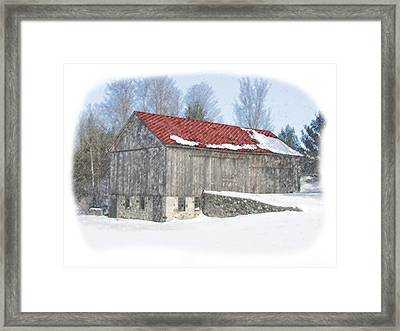 Red Barn In Winter Framed Print by Kat Wauters