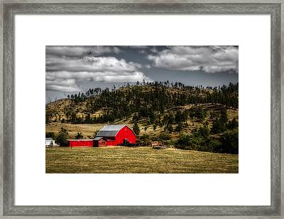 Red Barn In Wyoming Framed Print