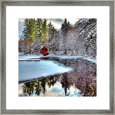 Red Boathouse In Winter Framed Print