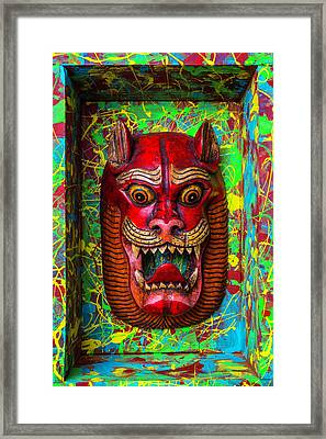 Red Cat Mask Framed Print