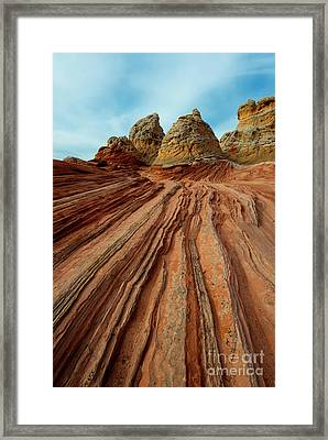 Red Desert Lines Framed Print by Mike Dawson
