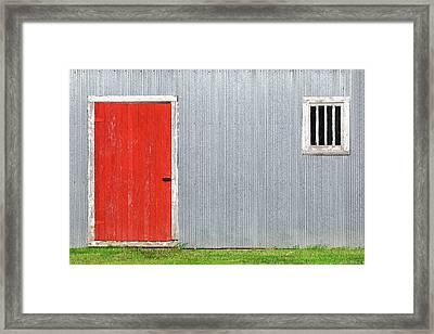 Red Door, Silver Wall Framed Print