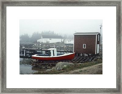 Red Fishing Boat In Fog Nova Scotia Framed Print by Richard Singleton