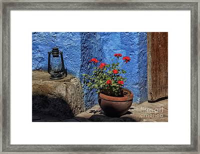 Framed Print featuring the photograph Red Geranium Near A Blue Wall by Patricia Hofmeester