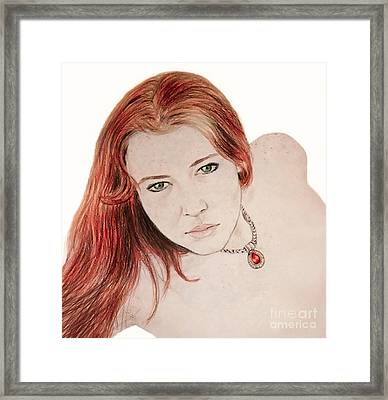 Red Hair And Freckled Beauty Framed Print by Jim Fitzpatrick