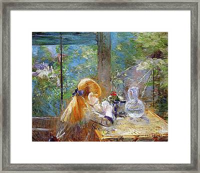 Red-haired Girl Sitting On A Veranda Framed Print by Berthe Morisot