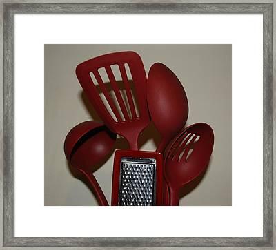 Red Kitchen Utencils Framed Print by Rob Hans