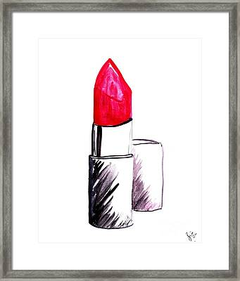 Red Lipstick Framed Print by Sweeping Girl