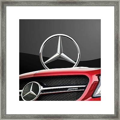 Red Mercedes - Front Grill Ornament And 3 D Badge On Black Framed Print by Serge Averbukh