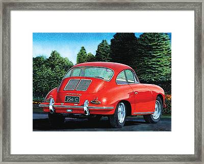 Red Porsche 356c Framed Print