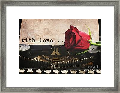 Red Rose On Typewriter Framed Print