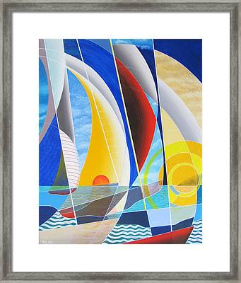 Framed Print featuring the painting Red Sail In The Sunset by Douglas Pike