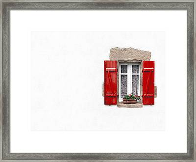 Red Shuttered Window On White Framed Print