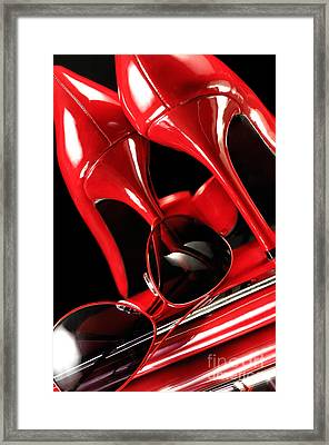 Red Stylish Accessories Framed Print by Oleksiy Maksymenko