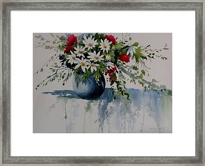 Red White And Blue Bouquet Framed Print