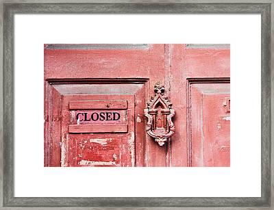 Red Wooden Door Framed Print