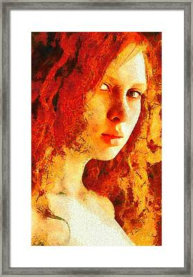 Framed Print featuring the digital art Redhead by Gun Legler