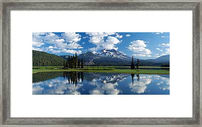 Reflection Of A Mountain In Water Framed Print by Panoramic Images