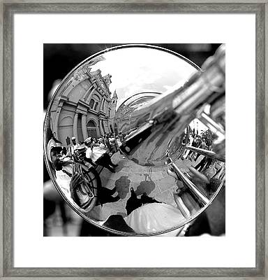 Reflections In A Trombone  Framed Print by Todd Fox