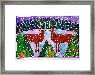 Reindeer And Rabbits Framed Print by Cathy Baxter